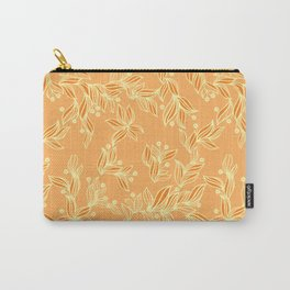 Orange Floral Pattern Carry-All Pouch
