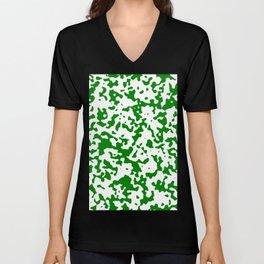 Spots - White and Green Unisex V-Neck