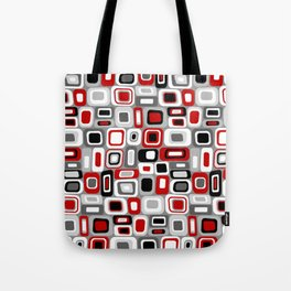 Mid Century Modern Squares and Rectangles // Red, Gray Black, White Tote Bag