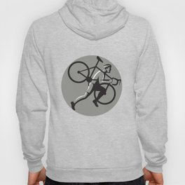 Cyclocross Athlete Carrying Bicycle Circle Retro Hoody