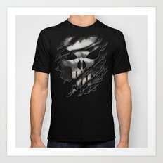 Frank Castle with chrome skull suit torn tee tshirt Art Print