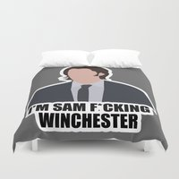 sam winchester Duvet Covers featuring Sam F*cking Winchester by SuperSamWallace