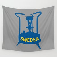 sweden Wall Tapestries featuring Sweden | Brass Pressure Stove by mailboxdisco