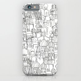 Russian cathedral church line drawing iPhone Case