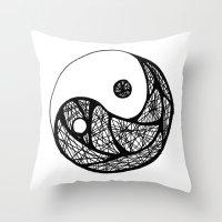 yin yang Throw Pillows featuring Yin Yang by Bearskin