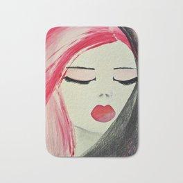 Shy Girl. Abstract Pink Girl. Pink Lips. Pink Hair. Jodilynpaintings. Eyelashes. Gift for All Girls. Bath Mat