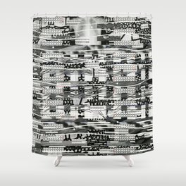The System Affects The Information That Flows Through It (P/D3 Glitch Collage Studies) Shower Curtain