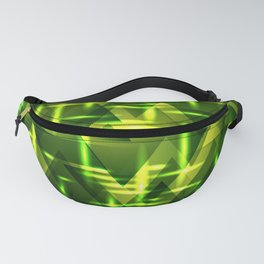 Grass plain and green intersections on a dark metal background. Fanny Pack