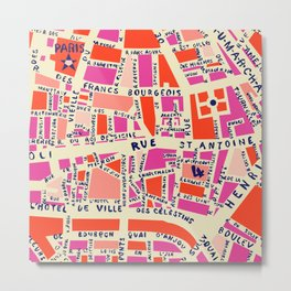 paris map pink Metal Print