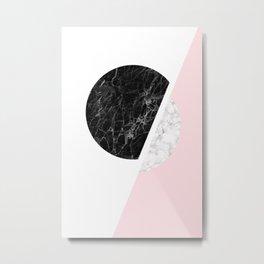 Modern Minimalist Black And White Marble Art, Scandinavian Minimalism, Large Print Wall Art Decor Metal Print