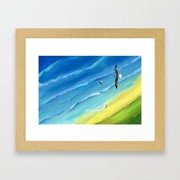 Birds view above sea. Framed Art Print
