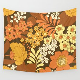 Brown, Yellow, Orange & Ivory Retro Flowers Wall Tapestry