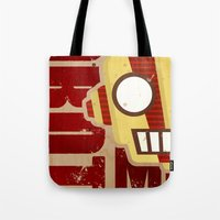 robot Tote Bags featuring Robot by LindseyCowley