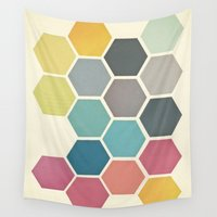 honeycomb Wall Tapestries featuring Honeycomb II by Cassia Beck