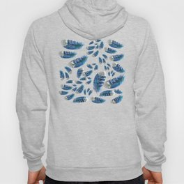 """""""Blue feathers flying in the air"""" Hoody"""
