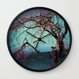 Hiroshi Yoshida Kumoi Cherry Trees Wall Clock