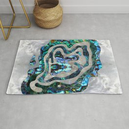 Abstract Ripple  Abalone and Mother of pearl Rug