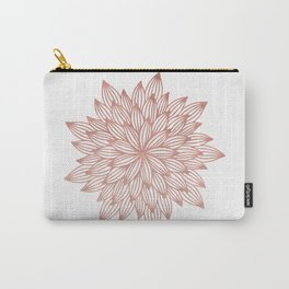 Mandala Flowery Rose Gold on White Carry-All Pouch