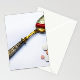 Drugs in the form of drugs on white background Stationery Cards