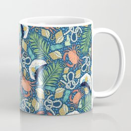 Cap and crab with seashells on water drops Coffee Mug