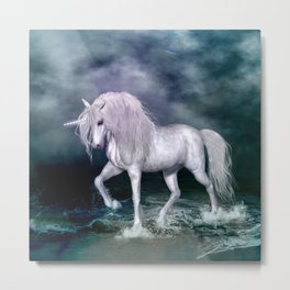 Wonderful unicorn on the beach Metal Print