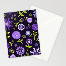 Retro purple flowers  Stationery Cards