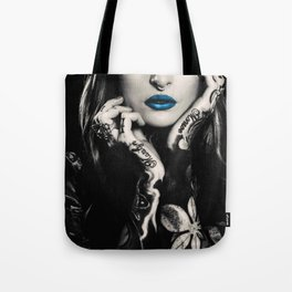 Girl with flowers tattoo Tote Bag
