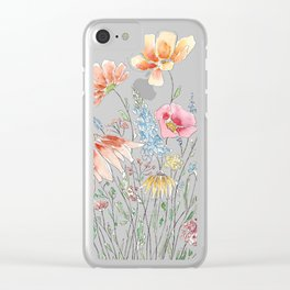 wild flower bouquet and blue bird- ink and watercolor 2 Clear iPhone Case
