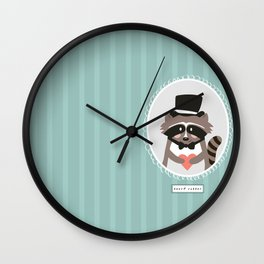 Racoon Heart Robber  Wall Clock