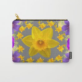 SPRING PURPLE  FLOWERS DAFFODIL ART DESIGN Carry-All Pouch