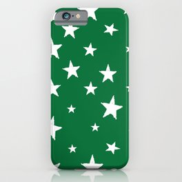 Hand-Drawn Stars (White & Olive Pattern) iPhone Case