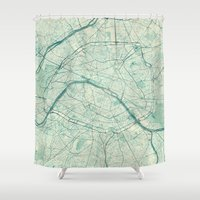 vintage map Shower Curtains featuring Paris Map Blue Vintage by City Art Posters