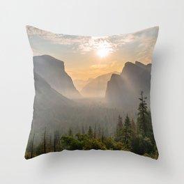 Morning Yosemite Landscape Throw Pillow