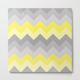 Yellow Grey Gray Ombre Chevron Metal Print
