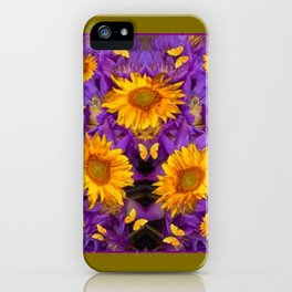 YELLOW BUTTERFLY SWARM LILAC-KHAKI COLOR iPhone Case