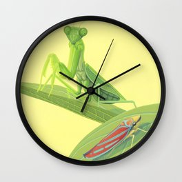 Mantis and Leafhopper Wall Clock