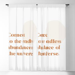 Connect to the abundance of the universe   Burnt Orange Rust Beige, Inspirational Quote Blackout Curtain