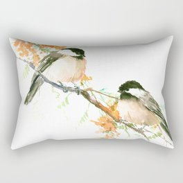 Chickadees and Orange Flowers Rectangular Pillow