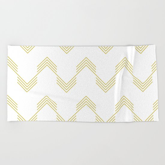 Simply Deconstructed Chevron Mod Yellow on White Beach Towel