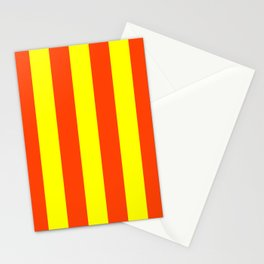 Bright Neon Orange and Yellow Vertical Cabana Tent Stripes Stationery Cards