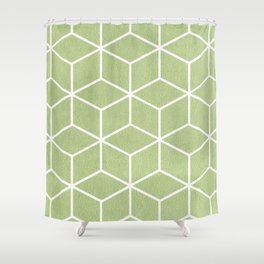 Lime Green and White - Geometric Textured Cube Design Shower Curtain