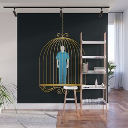 Man in golden bird cage Wall Mural