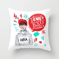 exo Throw Pillows featuring EXO WE ARE ONE! Chanyeol Version by Haneul Home