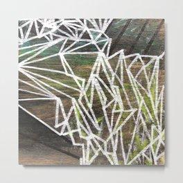 Geometric Lines on Wood Metal Print