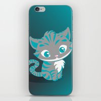 cheshire cat iPhone & iPod Skins featuring Cheshire Cat by Pixelowska