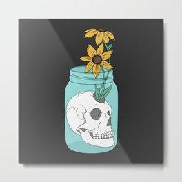 Skull in Jar with Flowers Metal Print