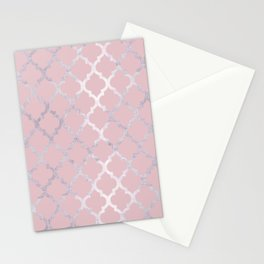 Moroccan Silver & Pink Stationery Cards