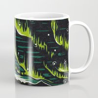 northern lights Mugs featuring Northern Lights  by Joey Bareither