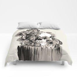 Life on a pedestal, floral skull Comforters
