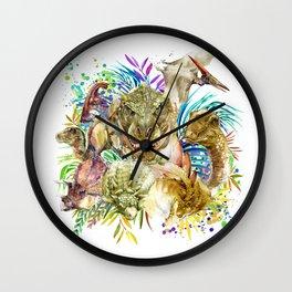 Dinosaur Collage Wall Clock